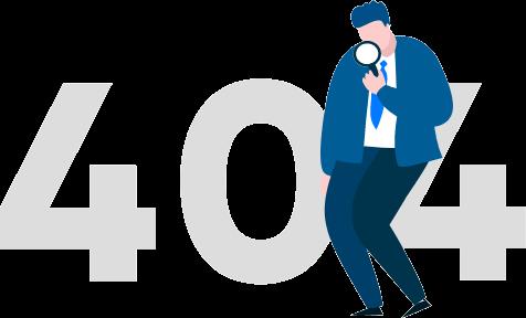 voor grote, grijze 404 nummers staat een man met vergrootglas