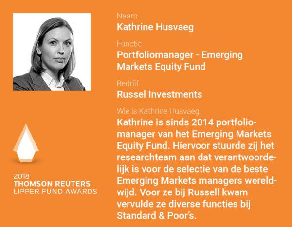 Bio Kathrine Husvaeg, portfoliomanager van het Emerging Markets Equity fonds bij Russell Investments.