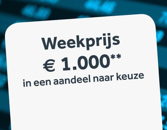 Een belegging ter waarde van 1.000€ in een aandeel naar keuze