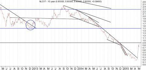 Grafiek tienjarige Nederlandse rente