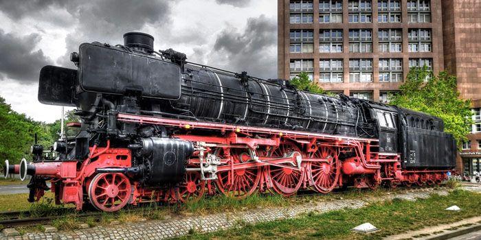 Duitse locomotief op stoom